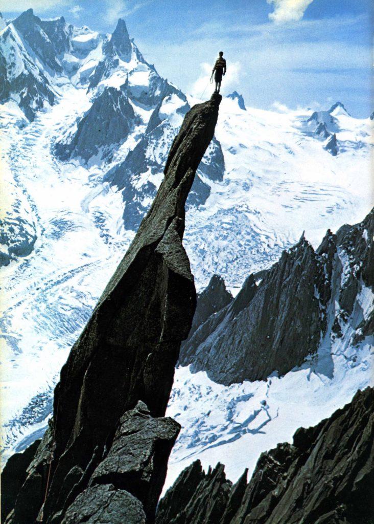 Gaston Rébuffat atop Aiguille du Roc, Chamonix, France